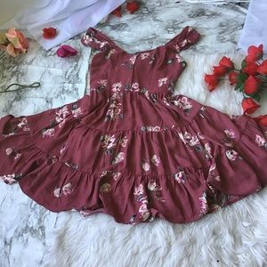 Berry Floral Skater Dress